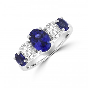 Platinum Sapphire and Diamond Oval Eternity Ring
