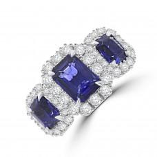 Platinum Emerald cut Sapphire Triple Cluster Ring