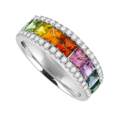 18ct White Gold 3-Row Rainbow Sapphire & Diamond Ring