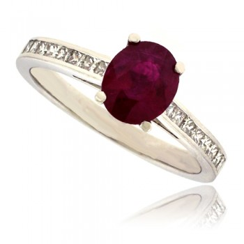 Platinum Ruby Solitaire Ring
