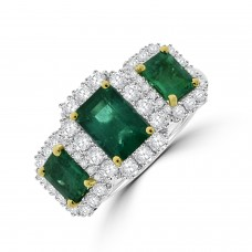 Platinum Triple Emerald Diamond Cluster Ring