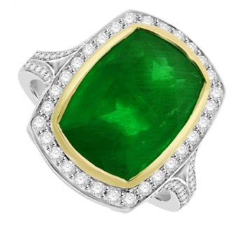 Platinum & 18ct Gold Emerald & Diamond Halo Ring