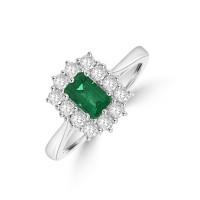 Platinum Emerald cut .50ct Emerald and Diamond Cluster Ring