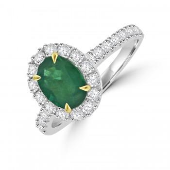 Platinum Emerald & Diamond Oval Halo Ring