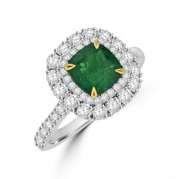 Platinum Emerald & Diamond Cushion Double Halo Ring