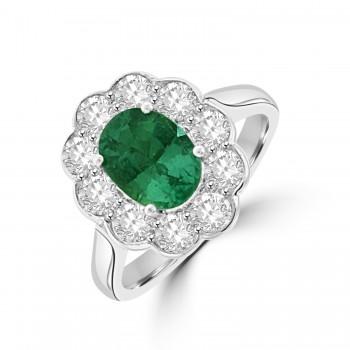 Platinum 1.18ct Emerald & Diamond Rubover edge Cluster Ring
