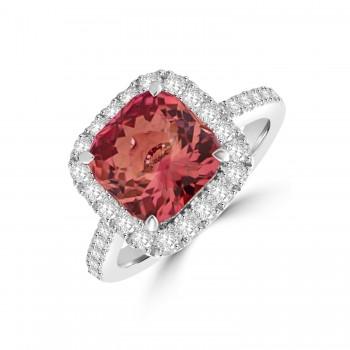 18ct White Gold Pink Tourmaline Cushion Diamond Halo Ring