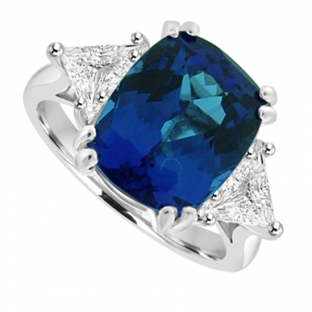 Platinum 3-stone Tanzanite & Diamond Ring