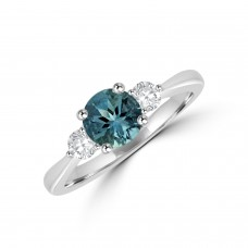 Platinum Three-stone Aqua & Diamond Ring
