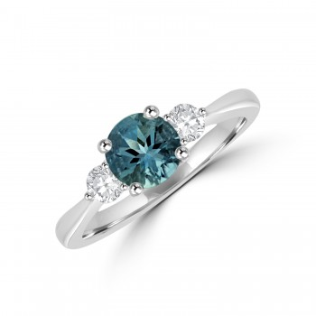 Platinum Three-stone Aquamarine & Diamond Ring