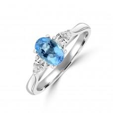 Platinum Three-stone Oval Aquamarine and Pear Diamond Ring