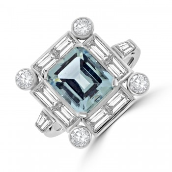 Platinum Aquamarine & Baguette Diamond Cluster Ring