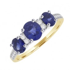18ct Gold 3-stone Sapphire Ring with Diamond Shoulders