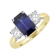 18ct Gold Three-Stone Emerald cut Sapphire & Diamond Ring