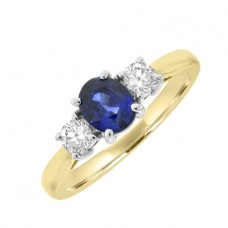 18ct Gold 3-Stone Oval Sapphire & Diamond Ring