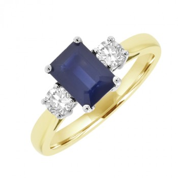 18ct Gold Emerald cut Sapphire & Diamond Ring