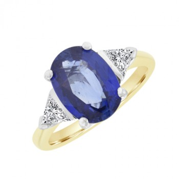 18ct Gold 3-Stone Oval Sapphire & Trillion Diamond Ring