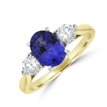 18ct Gold Three-stone Oval Sapphire & Diamond Ring