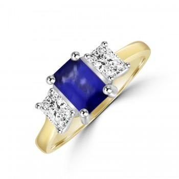 18ct Gold 3-stone Emerald cut Sapphire & Diamond Ring