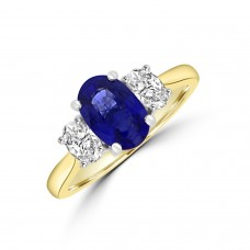 18ct Gold Oval 1.73ct Sapphire and Diamond Three-stone Ring