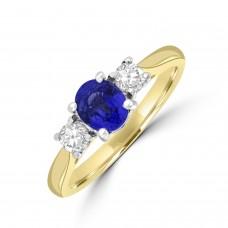 18ct Gold 3-stone .85ct Sapphire & Diamond Ring