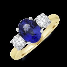 18ct Gold Three-stone 1.45ct Sapphire & Diamond Ring