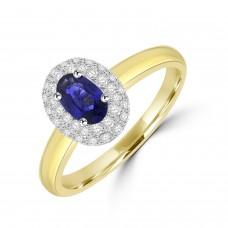 18ct Gold .70ct Sapphire Oval Diamond Halo Ring