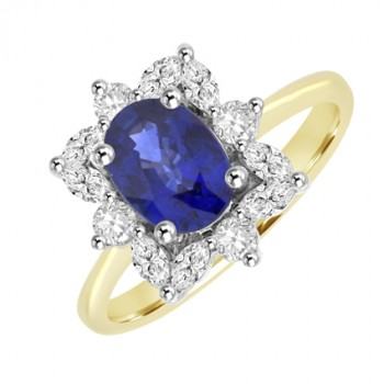 18ct Gold Oval Sapphire & Marquise cut Diamond Cluster Ring