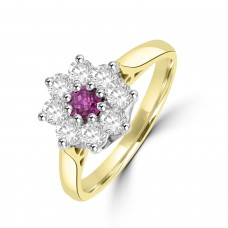 18ct Gold Ruby and Diamond Daisy Cluster Ring