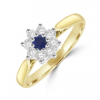 18ct Gold Sapphire & Diamond Daisy Cluster Ring