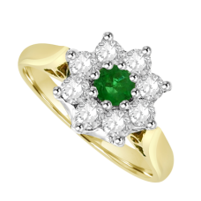 18ct Gold 9-stone Emerald & Diamond Cluster Ring