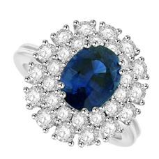 18ct White Gold 29-stone Sapphire & Diamond Cluster Ring