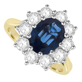18ct Gold 11-Stone Sapphire & Diamond Cluster Ring