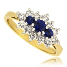 18ct Gold 15-stone Sapphire & Diamond Cluster Ring