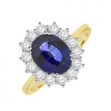 18ct Gold Fifteen-stone Oval Sapphire & Diamond Cluster Ring