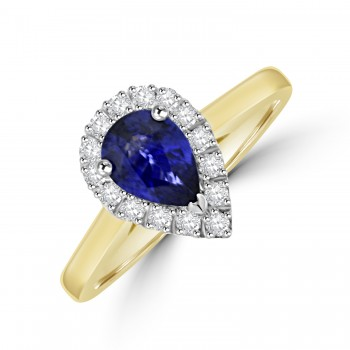 18ct Gold Sapphire & Diamond Pear Halo Ring