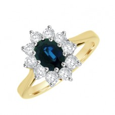 18ct Gold .81ct Sapphire & Diamond Oval Cluster Ring