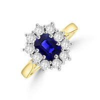 18ct Gold Emerald cut 1.01ct Sapphire and Diamond Cluster Ring