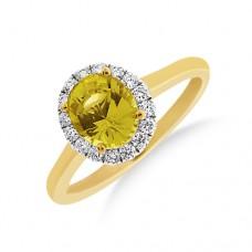 18ct Gold Yellow Sapphire Oval Diamond Halo Ring
