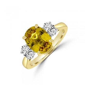 18ct Gold & Platinum Three-stone Yellow Sapphire & Diamond Ring
