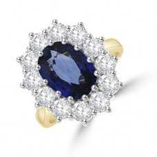 18ct Gold Sapphire & 1.93ct Diamond Cluster Ring