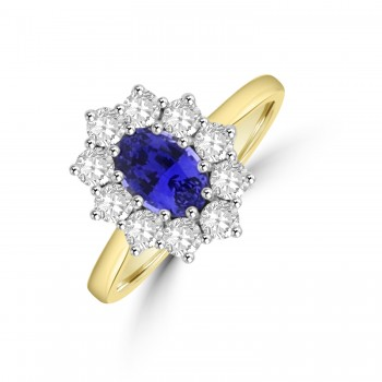 18ct Gold Oval 1.10ct Sapphire and Diamond Cluster Ring