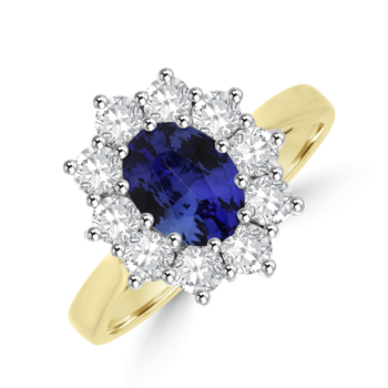 18ct Gold .95ct Sapphire & .55ct Diamond Oval Cluster Ring
