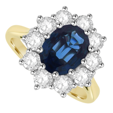 18ct Gold .86ct Sapphire & Diamond Oval Cluster Ring