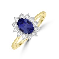 18ct Gold 1.25ct Sapphire & DIamond Oval Cluster Ring
