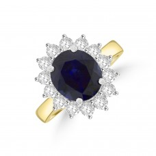 18ct Gold Oval 3.48ct Sapphire and Diamond Cluster Ring