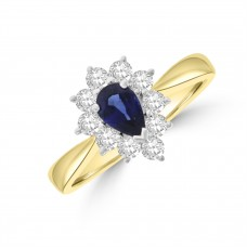 18ct Gold .56ct Sapphire Pear .36ct Diamond Cluster Ring