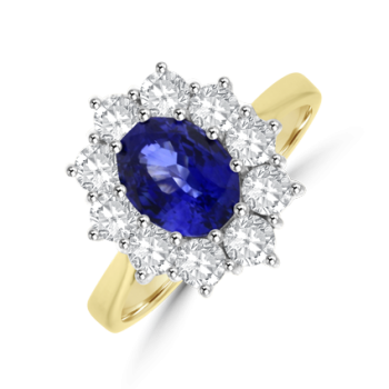 18ct Gold 1.73ct Sapphire & Diamond Oval Cluster Ring