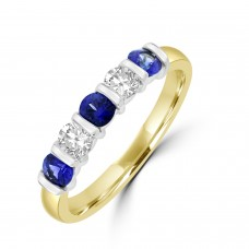 18ct Gold 5-stone Sapphire & Diamond Bar set Eternity Ring