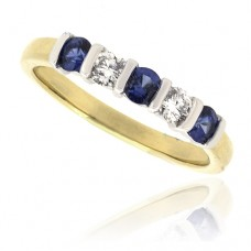 18ct Gold 5-Stone Sapphire & Diamond Eternity Ring